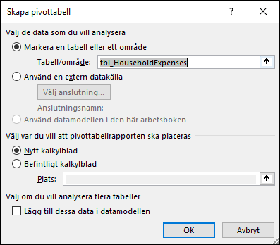 Alternativ i Infoga > Pivotdiagram i Excel