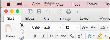 Menyfliksområdet i Word för Mac i klassiskt tema