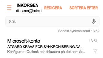 """Öppna e-postmeddelandet där det står """"åtgärd krävs"""""""