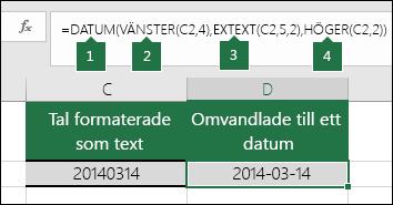 Konvertera textsträngar och tal till datum