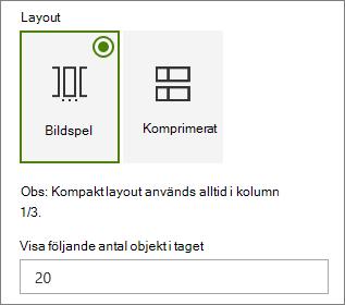 Layoutalternativ i egenskaps fönstret för webb delen händelser.