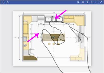 När du vill zooma ut pekar du på diagrammet med två fingrar och dra ihop dem.