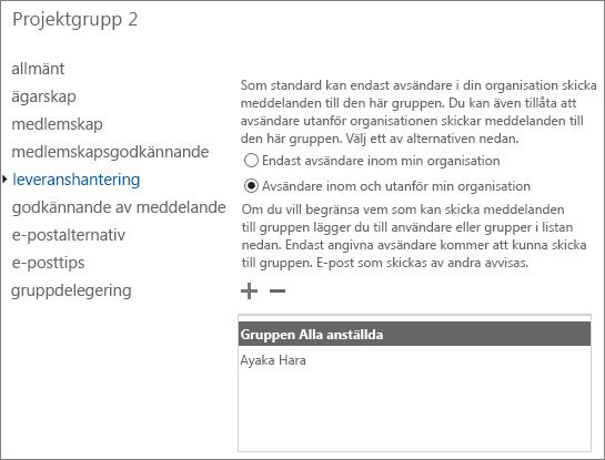 Lägga till tillåtna externa avsändare i en distributionsgrupp för att lösa NDR 5.7.133