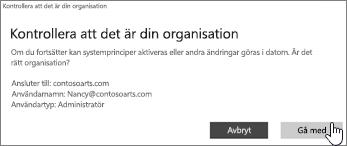 Klicka på Anslut på sidan Kontrollera att detta är din organisation
