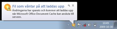 Popup-meddelande för Upload Center