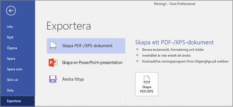Alternativet Exportera till PDF på fliken Arkiv i Visio.