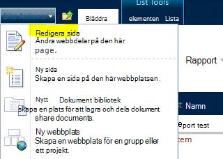Kommandot Redigera sida på menyn Webbplatsåtgärder