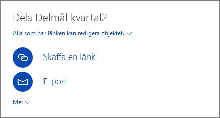 Skärmbild som visar hur du delar en fil i OneDrive