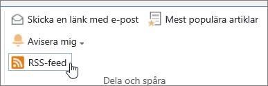 Biblioteksflik med RSS-avisering markerad