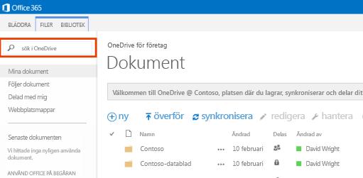 Skärmbild av OneDrive-frågerutan i Office 365.