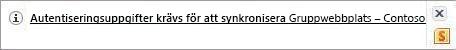 Synkroniseringsavisering i meddelandefältet i Windows