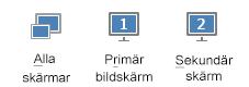 Skärmdump på fliken Presentera som visar primär, sekundär och alla bildskärmar