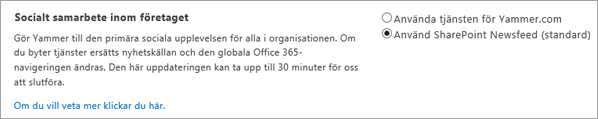 Administrationscenter för SharePoint, alternativ för Enterprise Social Collaboration