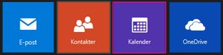 Huvudmenyn på Outlook.com – välj kalender
