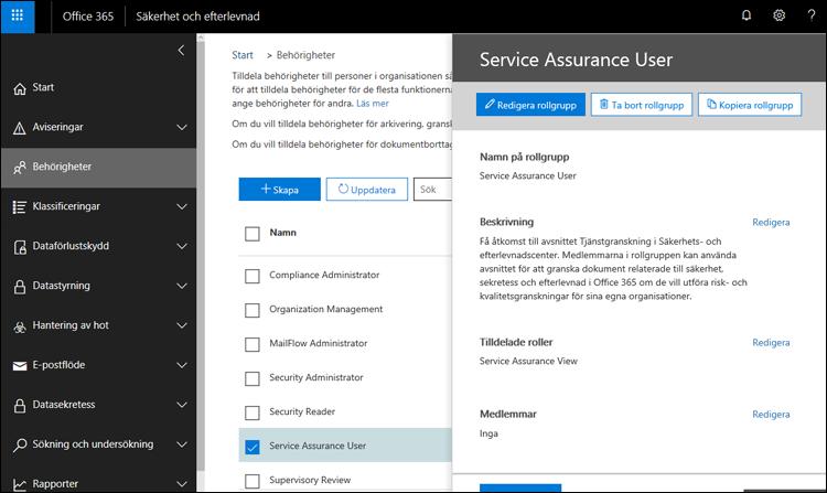 Service Assurance användaren - lägga till