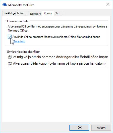 Skärmbild av fliken Office bland inställningarna för den nya synkroniseringsklienten för OneDrive för företag.