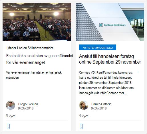 Exempel på organisations nyheter