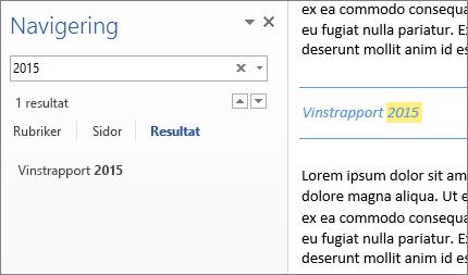 Resultaten av sökningen markerade i dokumentet och i fönstret Navigering