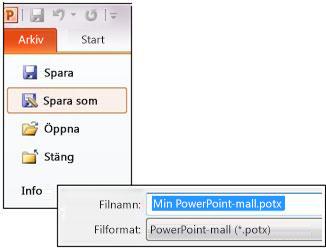 Spara presentationen som en .potx-fil