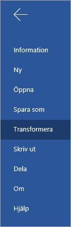 Knappen Omvandla för att konvertera Word Online-dokument till en Sway-yta