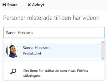 Koppla en video till en person i din organisation.
