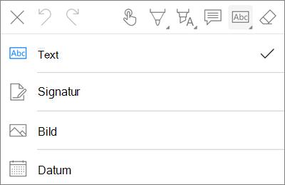 PDF för OneDrive för iOS-textMenyn