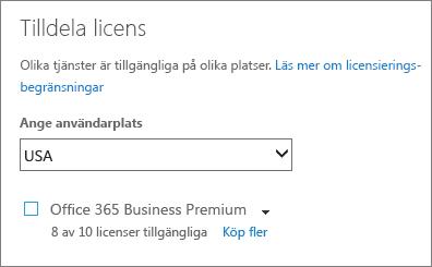 Skärmbild av menyn Tilldela licens utan vald prenumeration.