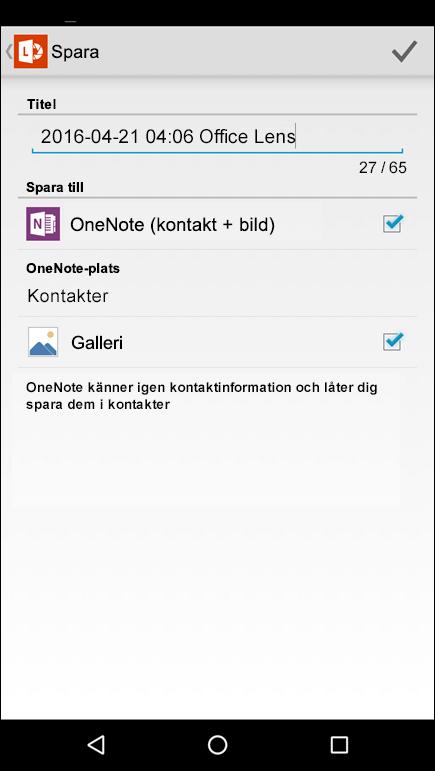 Skärmbild av funktionen Exportera till kontakter i Office Lens för Android.