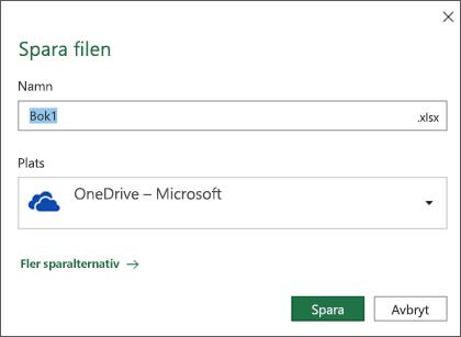 Dialogrutan Spara i Microsoft Excel för Office 365