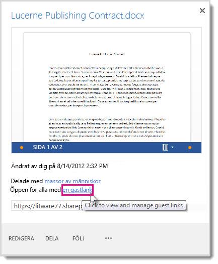 Dialogrutan Egenskaper som visar att ett dokument har delats emd en gästlänk.