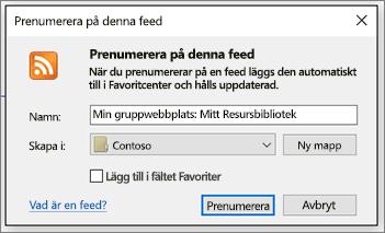 Dialogruta för att prenumerera på RSS där du kan ändra mappar som feeds kommer till