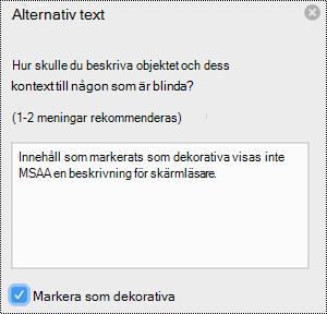Markera som dekorativ kryss ruta markerad i fönstret alternativ text i Excel för Mac