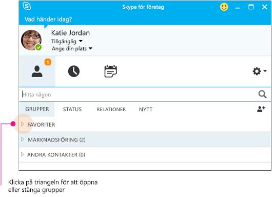 Huvudfönster i Skype för företag, klicka på triangeln för att expandera eller minimera en grupp