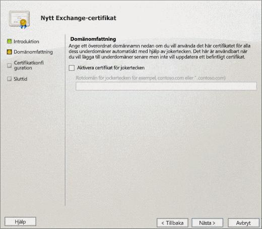 Domänomfattningssida i guiden för nya Exchange-certifikat för Exchange 2010.
