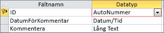 Räknare-primärnyckel med beteckningen ID i tabelldesignvyn i Access