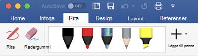 Pennor och överstryknings penna på fliken rita i Office 365 för Mac