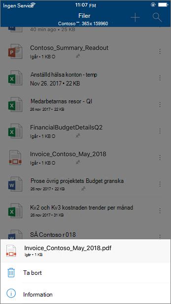 Skärmbild av att ta bort en blockerad fil från OneDrive för företag från mobilappen OneDrive
