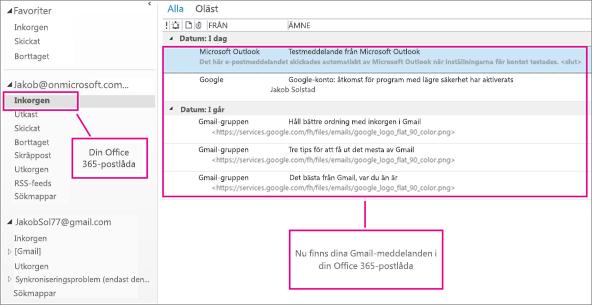 När du har importerat e-posten till din Office 365-postlåda visas den på två ställen.