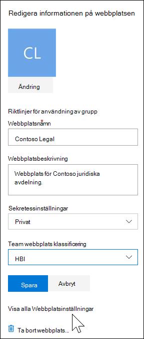 Visa inställningar för alla SharePoint-webbplats
