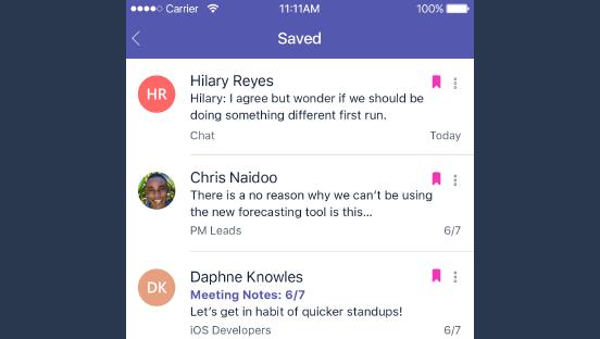 Denna skärmbild visar sparade meddelanden.