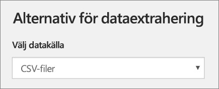 Skärmbild av alternativ för dataextrahering, under Lägg till profil i School Data Sync