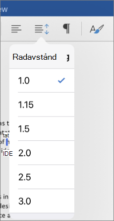 Visar alternativen för rad avstånd i Word för iPad.