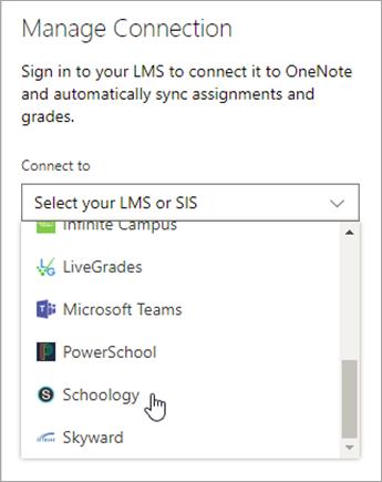 Välj LMS eller SIS i listan.