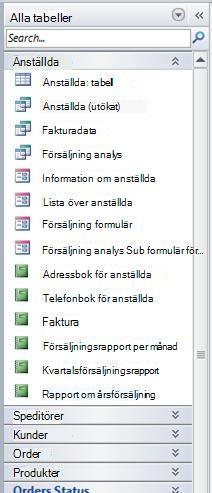 I navigeringsfönstret visas gruppen för alla tabeller av de tabeller och relevanta vykategorier som finns i Northwind-exempeldatabasen