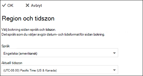 Skärmdump: Välj språk och tidszon