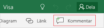 Lägga till en kommentar i Excel Mobile för Windows 10