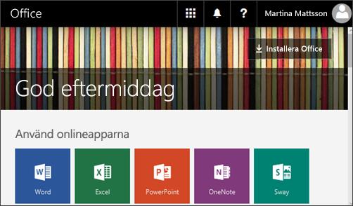 Skärmbild som visar startsida med Installera Office-knapp