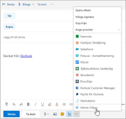 En skärmbild som visar ett e-postmeddelande med alternativet Hämta tillägg markerat.