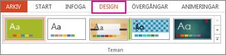 Galleriet Teman på fliken Design