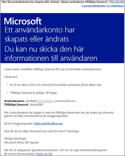 Exempel på e-postmeddelande som har Office 365-konto och inloggningsinformation